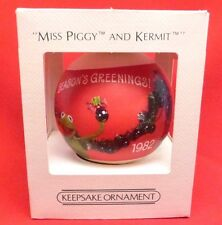 "Hallmark 1982 ""MISS PIGGY AND KERMIT"" Satin Ball  Christmas Ornament Muppets"