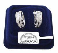 Cerchi Orecchini uomo donna pl. oro bianco 18K cristalli swarovski veri SW4/2