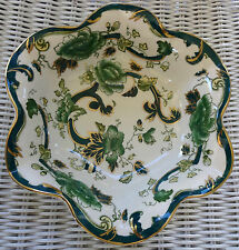 """Masons Mason's Mandalay Oriental Chartreuse Green Floral Paisley 9"""" Fluted Bowl"""