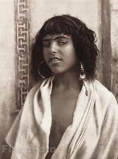 1924 Original NORTH AFRICA Algiers Berber Girl Photo Art By LEHNERT & LANDROCK
