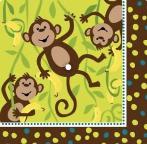 Monkeyin Monkey Theme Large Napkins Pk 16