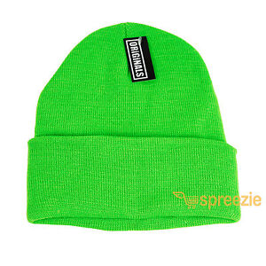 Neon Green Beanie Plain Knit Ski Hat Skull Cap Cuff Warm Winter Blank Unisex New