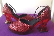 """Hot Topic - """"Bloom"""" Red Glitter Ankle Strap Heels - 'Ruby Slippers!' NIB Size 11"""