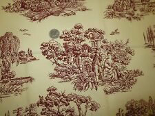 "2113  Madison Ave Designs MAROON on IVORY Drapery COTTON TOILE--54"" x 1 1/8 Yds."