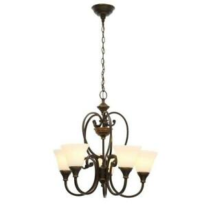 Hampton Bay 5-Light Bronze Chandelier with Bell Shaped Frosted Glass Shade