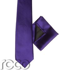 Garçons Violet Poche Carré , Garçons Violet Cravate, Uni Lien, Garçons Cravate