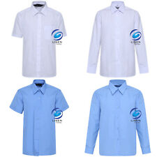 Girls Blue Revere School Blouse Ages 3-12 Premium School Uniform Short Sleeved