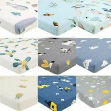 Cotton Crib Fitted Sheet Soft Breathable Baby Bed Mattress Cover Cartoon Bedding