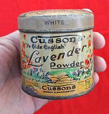 VINTAGE BEAUTIFUL CUSSONS YE ELDE ENGLISH LAVENDER TOILET POWDER TIN BOX,ENGLAND