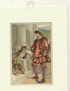 M 1520 ANTIQUE ART PRINT MATTED FRAME SHAKESPHERE  AND DRESSED CAT ?? 7X9 MAT