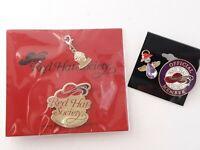 Red Hat Society Lapel Pin Charm & Pendant Lot Rhinestone Angel