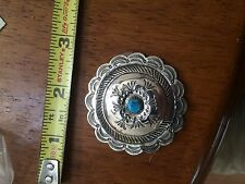 "Sterling Silver & Turquiose Concho Pendant 2"" diameter,13.6 gr."