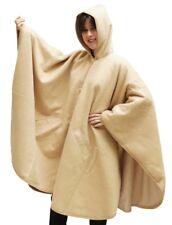Hooded Alpaca Wool Cape Lined Hood Poncho, Beige