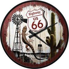 Highway US 66 Eidechse Nostalgie Wanduhr Glas,31 cm Wall Clock,Neu