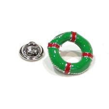 Green Lifebouy / Life Belt Sailing Novelty Pin Badge, Tie Pin / Lapel Pin Badge