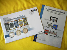 2007 numisbrief, numisblatt, 50 J. deutsche bank, euro-introducción, 1998, 2002