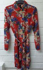 Womens Ladies New Red & Blue Floral Button Tie Belt Shirt Dress UK 8-16 626