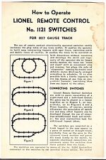 [55680] 1949 LIONEL TRAINS REMOTE CONTROL No. 1121 SWITCHES FOR 027 INSTRUCTIONS