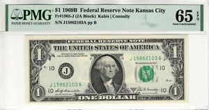 1969 B $1 FEDERAL RESERVE NOTE KANSAS CITY FR.1905-J JA BLOCK PMG GEM UNC 65 EPQ