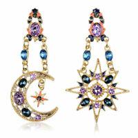 Boho Women Crystal Moon Sun Pendant Statement Party Wedding Dangle Drop Earrings