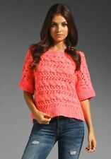 $158 New JUICY COUTURE Thick & Thin Sweater Cropped  WOOL Candy Pop Coral XS