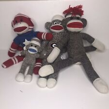 Lot of 4 sock monkeys 3 large 1 small tarzan yells