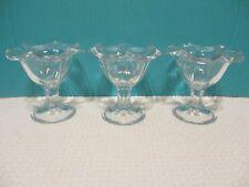 """Set Of 3 Vintage Footed Glass Ice Cream Sundae Glasses 4 3/4"""" Tall"""