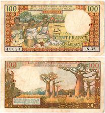 Madagascar 100 Francs = 20 Ariary P#57a (1966) Institut d'Émission Malgache Fine