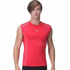 L RED Mens Muscle Compression Shirts Top BASELAYER Slimfit Armour Tight