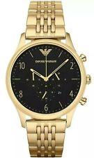 Emporio Armani AR1893 Mens Black Dial Gold Tone Bracelet Designer Watch RRP £399