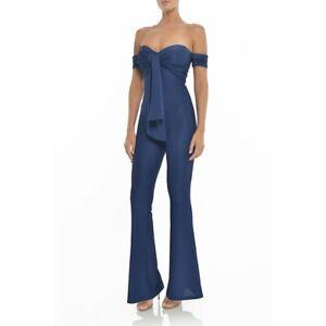 Misha Collection Malika Navy Off Shoulder Pantsuit/Jumpsuit Size 6