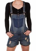 Sublevel Damen Jeans Latzshorts LSL-337 Hot Pants kurze denim Hose Overall