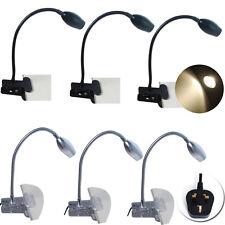 1/2x Flexible LED Desk Lamp Clip-On Bed Reading Table Light Black Sliver 3W UK
