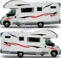 2x Car Body Stickers Decal Stripes For Caravan RV Travel Trailer Camper Van