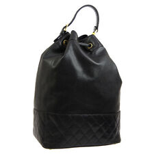 CHANEL Quilted Jumbo CC Drawstring Backpack Hand Bag Purse Black Caviar BT16707