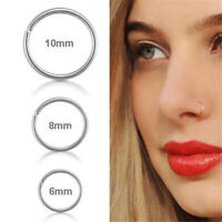 3PC Stainless Steel Nose Ring Open Hoop Lip Body Piercing Clip On Studs Jewelry,