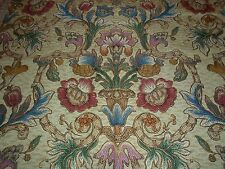 Antique Italian Toile Tapestry Fabric Pomegranate Baroque Urn Metallic Threads