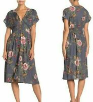 NWT Angie Smocked Gray V-Neck Floral Flutter Sleeve Summer Sun Midi Dress S/M/L