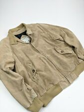 Orvis Brown Suede Leather Bomber Harrington Jacket Sz L