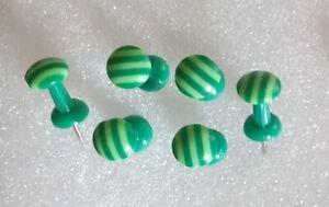 GREEN CANDY STRIPE HANDMADE DECORATIVE PUSH PINS THUMB TACKS 4 CORK NOTICE BOARD