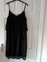 Monsoon Black Beaded Dress  -  Size 18 Christmas / New Year Party??