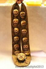 "32"" Tibet Buddhism Temple Bronze 24k Gold 13 Skull Buddha Head King Bell Statue"