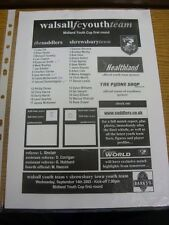 14/09/2005 Walsall YOUTH V Shrewsbury Town Youth [MIDLAND Youth Cup] (single LEI
