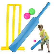 CHILDRENS PLASTIC CRICKET SET BAT BALL BAILS STUMPS GARDEN BEACH GAME TOY 101331