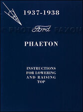 1937-1938 Ford Phaeton Convertible Top Owners Manual with Envelope Deluxe Owner
