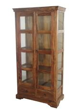 Solid Sheesham Wood Large Glass Fronted Display Cabinet Cupboard Unit