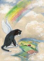 ACEO PRINT OF PAINTING RYTA TUXEDO CAT ANGEL RAINBOW BRIDGE FAIRY WHIMSICAL ART