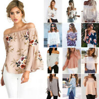 Womens Off Shoulder Floral Long Sleeve Crochet T-Shirt Casual Loose Tops Blouse