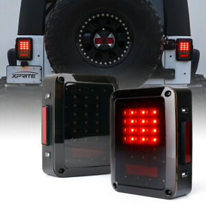 Xprite 1Pair LED Tail Lights Brake w/ Smoke Lens for Jeep Wrangler JK JKU 07-18
