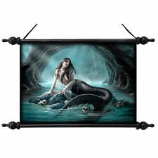 Ocean Mermaid Sea Siren Canvas Wall Hanging Tapestry Scroll Art